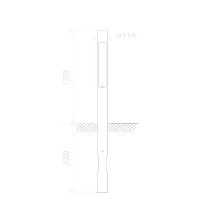 Mast for lydsignal + fod, med luge og huller