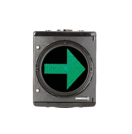 LED plastsignal 1-lys 200 mm m. H-pil opadvendt DSI